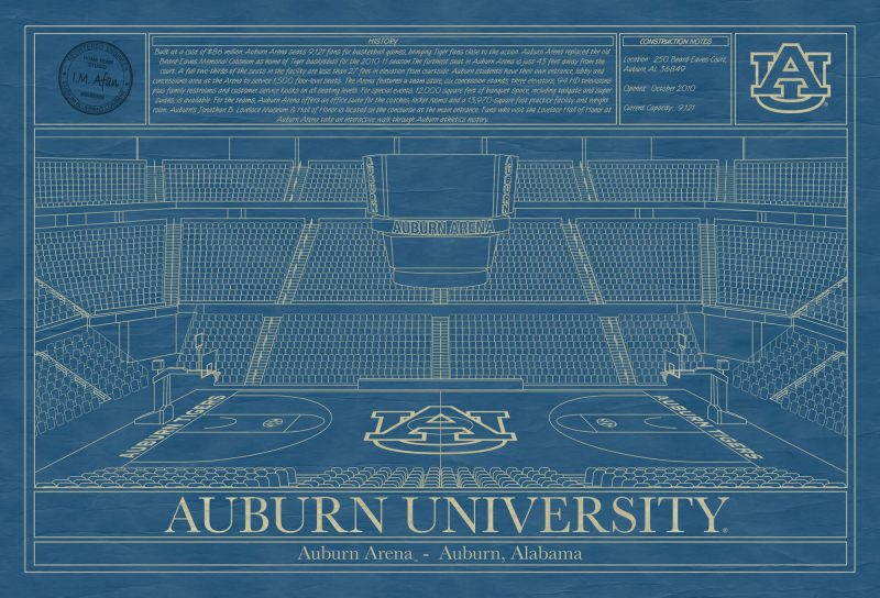Auburn University - Auburn Arena - Blueprint Art
