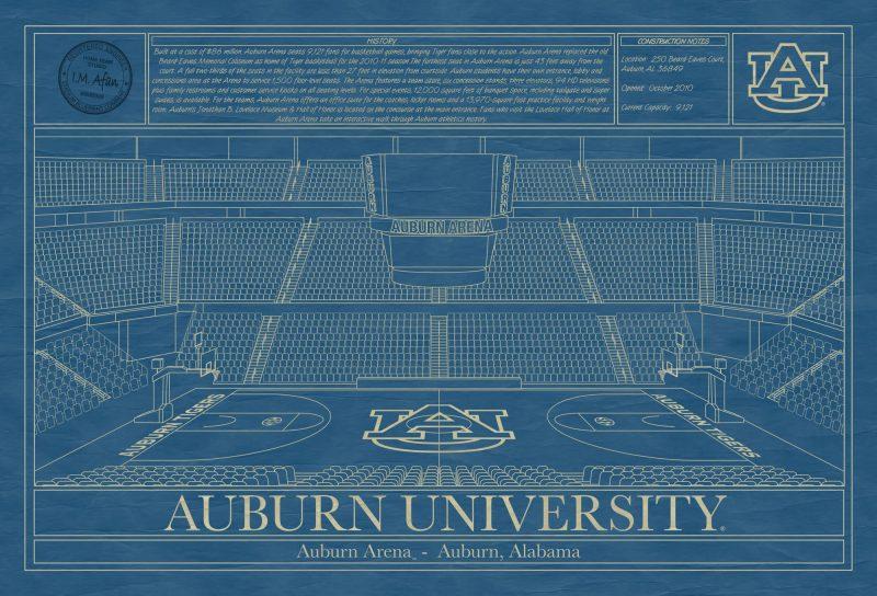 Auburn University - Auburn Arena - Blueprint Art