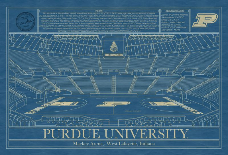 Purdue University - Mackey Arena - Blueprint Art