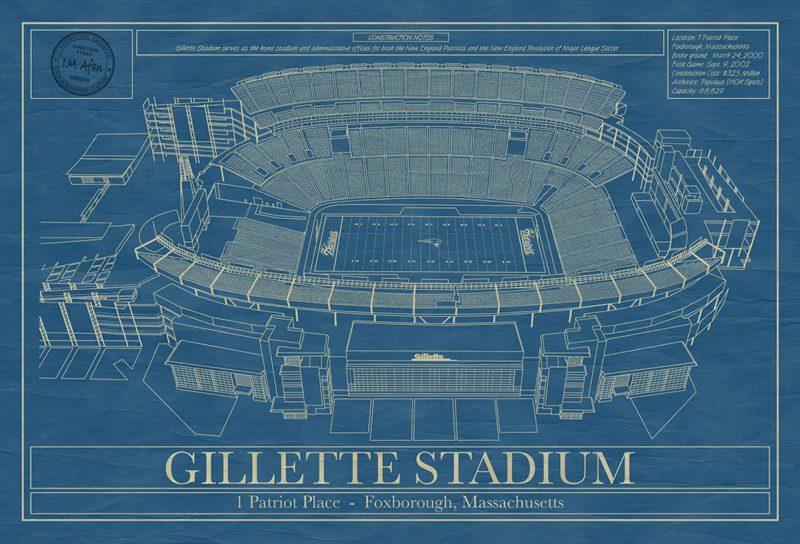 New England Patriots - Gillette Stadium - Blueprint Art