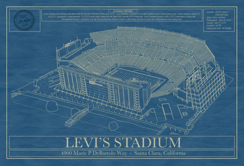 San Francisco 49ers - Levi's Stadium - Blueprint Art